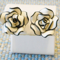 Black & White Flower Earrings -- Gift Boxed, Polymer Clay, 3D -- Christmas, Holiday, Birthday, Surgical Steel, Hypoallergenic