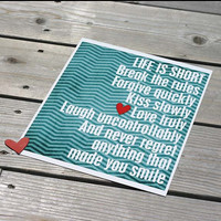 Life is Short - original digital print in teal and blue chevron - 8x10 Gifts Under 25