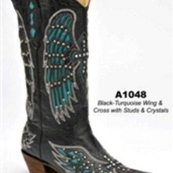 Corral Black/Turquoise Wing and Cross A1048   Boot Country Online