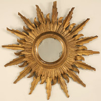 Vintage Italian Carved and Gilded Sunburst Mirror