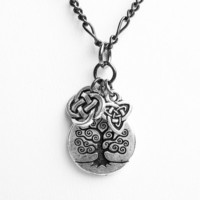 Celtic Tree of Life Necklace - Celtic Tree of Life with Celtic Knot and Celtic Trinity Charms - on Gunmetal Chain