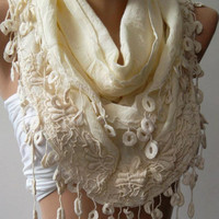 Scarf with Lace Edge . Beige