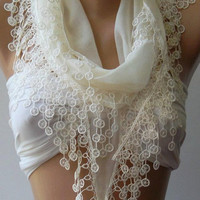 Bridesmaids Gifts - Feminine - Pearl Color - Cotton -Scarf-Elegance Scarf-Shawl....