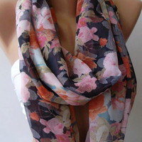 Infinity Scarf Loop Scarf Circle Scarf - Elegant - Chiffon /Dance of the Colors Collection, by womann.