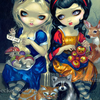 Alice in Wonderland and Snow White cheshire cat gothic fantasy art print by Jasmine Becket-Griffith 12x16 BIG