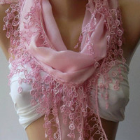 ON SALE /Pink /Cotton/ Traditional Turkish Fabric -Anatolian Shawl/Scarf....Bridesmaids Gifts
