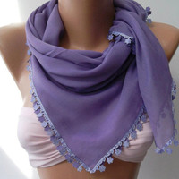 Lilac - Shawl/Scarf with Lace -  Very Soft cotton fabric.
