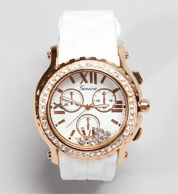 White Jelly Rhinestone Watch