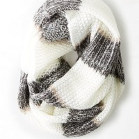 AEO Women's Striped Loop Scarf (Charcoal)