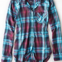 AEO 's Plaid Boyfriend Shirt (Teal)