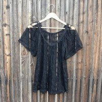 Vintage sheer sexy black lace blouse - oversize fit