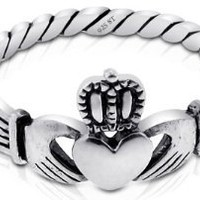 Amazon.com: Nickel Free Sterling Silver Irish Claddagh Friendship and Love Polish Finish Band Ring: Jewelry