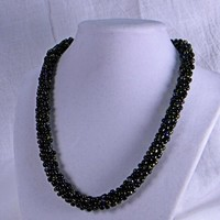 Kumihimo Braided Black and Deep Olive Green Beaded Choker Necklace