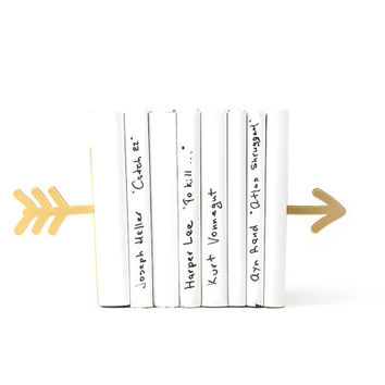Bookends Arrow golden metallic  FREE SHIPPING laser cut metal bookends strong enough to hold your books