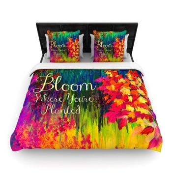 "Ebi Emporium ""Bloom Where You're Planted"" Floral Woven Duvet Cover - Woven /"