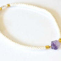 OOAK Raw Amethyst Rope Necklace
