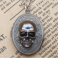 Steampunk Skull Locket Necklace Vintage Style Original Design