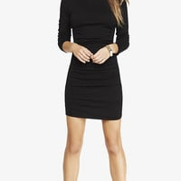 BLACK RUCHED SWEATER DRESS from EXPRESS