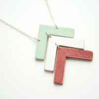 Stacked Wooden Arrows Necklace in Mint, White, and Red