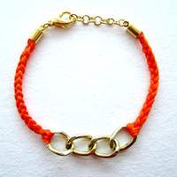 Orange Friendship Bracelet, Gold Chain Bracelet, stacking bracelets