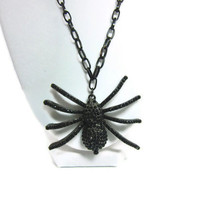 Eeek Spider Gothic Black Necklace, Perfect for Halloween