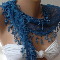 Scarf  with Lacy Edge.Ocean Blue  / Elegance  Scarf Shawl