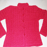 Peruvian Design Alpaca Wool Curly Cardigan for Women.