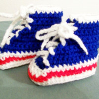 Baby Hi Top Tennis Shoes-Blue/White