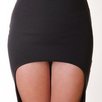 BLACK FITTED HIGH LOW SKIRT @ KiwiLook fashion