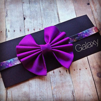 Purple Messy Bow Galaxy Print Elastic Headband