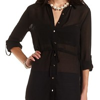 Drawstring Waist Chiffon Tunic Top by Charlotte Russe - Black
