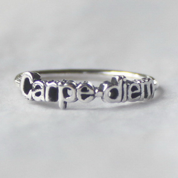 Carpe diem Ring &#x27;Seize the day&#x27; , Sterling silver stacking ring with Inspiring words