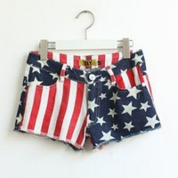 American Flag Low Waist Denim Jean Shorts $37.00