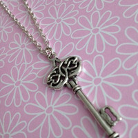 Antique Silver Key Charm Necklace