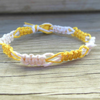 Macrame Bracelet Hemp Switchback Yellow and White