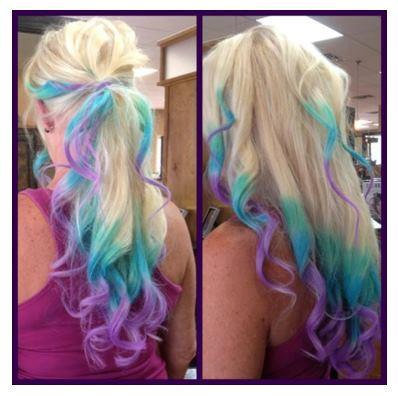 Four Clip Ins/Pink/Blue/Purple/Turquoise Extension /Tips Dip Dyed/Weft Clip Extensions - Ombre -18inch on Brown/Blonde/ or black