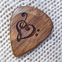 Treble and Bass Clef Heart - Handmade Custom Engraved Exotic Wood Guitar Pick - Jatoba