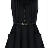 Black Sleeveless Pleated Flare Belted Shirt Dress - Sheinside.com