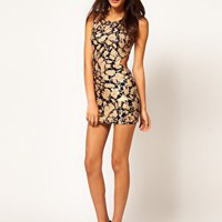 ASOS PETITE Exclusive Printed Bodycon Dress With Cut Out at asos.com