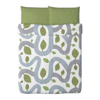 KAJSA TRD Duvet cover and pillowcase(s) - green, Full/Queen - IKEA