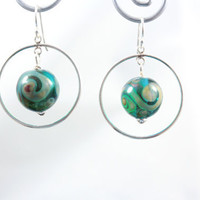 Turquoise Hoop Earrings Silvered Scroll Lampwork Beads and Sterling Silver findings