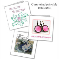 Printiable mini cards  - customize - thank you - christmas Set of 3