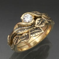 Gold DELICATE LEAF Wedding Ring Set - Engagement Ring and Matching Wedding Band.  This ring set with Natural Diamond