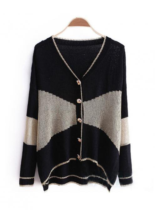 Black Stitching Long Sleeve V-neck Sweater $41.00
