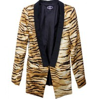 Women Autumn Fashion Euro Slim Long Sleeve Shoulder Pad Print Blends Suit Coat S/M@WY2221 $29.90 only in eFexcity.com.