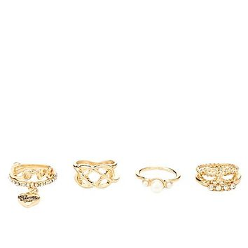 Rhinestone Charm Rings - 6 Pack by Charlotte Russe - Gold