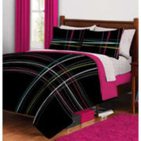 Plaid Bed in a Bag Bedding Set QUEEN- morgan teen-Bed &amp; Bath-Decorative Bedding-Comforters &amp; Sets