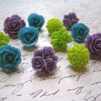 Pretty Push Pins 12 pcs Coordinated Flower Thumbtacks in Purple, Caribbean Blue, Lime Green... Perfect for Gift Giving