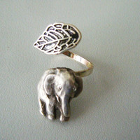 Silver elephant ring with a leaf, wrap ring