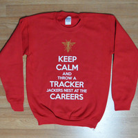 Keep calm and Throw a Tracker Jackers Nest at The Careers Hunger Games Mockingjay SWEATER ADULT sizes